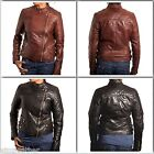 Ladies Collarless Gold Zipped Quilted Short Side Zip Leather Jacket Black/brown