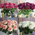 6pcs Velvet Rose Spring Artificial Fake Flower Home Room Hydrangea Wedding Decor