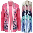 New Ladies Womens Floral Knitted inserted Twin Set Cardigan Sweater Jumper Top
