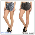 WOMEN 100% COTTON ACID WASHED SHORTS WITH DRAWSTRING WAIST WITH 2 COLORS 6SH02