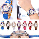 Vogue Women's Flowing Beads Full Rhinestone Dial PU Leather Quartz Wrist Watch