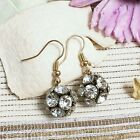 ER2984 Graceful Garden Vintage Style Gold Tone Crystal Disco Ball Charm Earrings