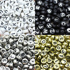 100 7x4mm Acrylic Single Letter Coin Beads A-Z Disc Alphabet Beads