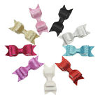 Baby Kids Girls Handmade Faux Leather Glitter Hair Bow Clip Accessories
