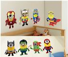 Despicable Me Minions X Superhero Removable Wall Stickers Decal Kids Home Decor