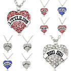 Little Baby Sister Pendant Necklace Gifts Charm Party Girl Crystal Love Heart