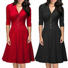 Women 50s Vintage Swing Breast Dart V-Neck 3/4 Sleeve Evenig Prom Casual Dresses