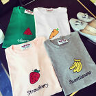 Women Summer Basic T-shirt Cute Fruit Print Short Sleeve Tee Blouse Tops   FOUS