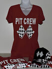 """PIT CREW"" TEE RHINESTONE ""BLING"" FOR THE LADIES - NASCAR - RACE"