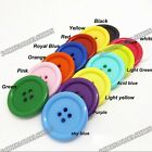 5pcs Large Resin Coat Sewing 4-holes Round Buttons 34mm 38mm 44mm 14color pick