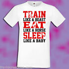 Gym Shirt Train Eat Sleep T-Shirt Training Physical Fitness Wear Trainers Strong