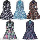 Women 3/4 Sleeve Vintage Floral Print Evening Prom Casual Rockabilly Swing Dress