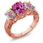 4.00 Ct Pink Created Sapphire and Mystic Topaz 18K Rose Gold Plated Silver Ring
