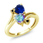 1.78 Ct Mystic Topaz and Simulated Sapphire 18K Yellow Gold Plated Silver Ring