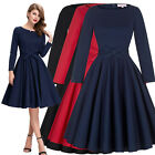 Womens Vintage 50s 60s Long Sleeve Party Swing Cocktail Evening Dress Plus Size