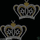 2x Crown A Iron On Rhinestone Transfer Crystal Hotflix t-shirt applique