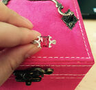 925 Sterling silver Cubic zirconia ring Pink love heart gift MOM her Wedding-#53