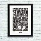 David Bowie Poster David Bowie Song Titles - Available in 3 Sizes Ready To Frame