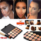 Pro 15 Colour Concealer Palette Kit Face Makeup Contour Cream Powder + 1 Brush