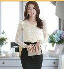 FANCY LACE CHIFFON TOP BLOUSE LONG SLEEVE CUTE BEADED PEARL HIGH NECK MESH SHEER