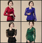 Classic Lace Top Blouse Long Sleeve Floral Sheer Evening Elegant Oriental Classy