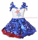 4th July Rhinestone Twin Star White Top Patriotic Star Pettiskirt Girls Set 1-8Y