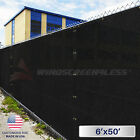 6'x50' Green Black Privacy Fence Windscreen Garden Shade Mesh Fabric Cover Net