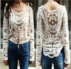 New Crochet Beige Festival Boho Lace Beach Long Sleeve Blouse Hippy Shirt Top