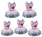 1ST 2ND 3RD 4TH Birthday Cupcake Pink Top Bling Blue Satin Trim Girl Skirt NB-8Y