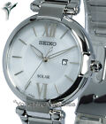 Ladies SEIKO SOLAR OYSTER WHITE LARGE FACE & STAINLESS STEEL BRACELET SUT153P1