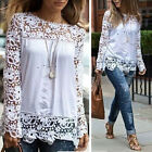 Women Chiffon Hollow Lace Crochet Long Sleeve Shirt Tops Blouse T-shirt Fashion