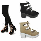 womens ladies strappy chunky grip block heel lace up cut out sandals shoes size