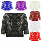 NEW LADIES PLUS THREE QUARTER SLEEVE LACE CROP CARDIGAN SHRUG BOLERO SIZE 14-20
