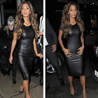 Fashion Women Sexy PU Leather Bodycon Bandage Pencil Short Sleeve Mini Dress