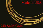 "1""  - 6"" 24k .999 solid yellow round gold wire  gauge 12 , 2 MM Brand new"