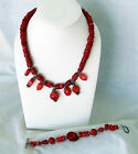 VINTAGE STERLING SILVER AND RED CORAL NECKLACE & BRACELET SET