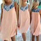 Sexy Women Sleeveless Chiffon Evening Party Jeans Splicing Mini Beach Dress Pink