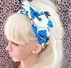 BLUE ORCHID TROPICAL FLORAL PRINT BENDY WIRE WIRED COTTON HAIR HEADBAND 50s