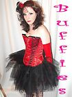 Tutu Gothic Emo White tutu Red Fancy dress Burlesque Tutu  Bustle 8-18