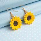 Sunflower dropper earrings with choice of metal finish