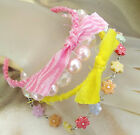 New Lot 4 Fashion Bracelets Boho pink yellow bangle stretch flower charm w medal