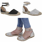 WOMENS SEQUIN LADIES LOW FLAT HEEL ANKLE STRAPPY ESPADRILLES SHOES SANDALS SIZE