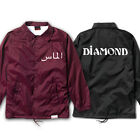 "Diamond Supply Co ""Arabic"" Coach's Jacket Men's Windbreaker Black Burgundy"