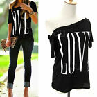 Summer Womens New Sexy Fashion Loose Short Sleeve Black Tops T-Shirt Love Blouse