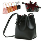 VERSO CONTRAST INTERIOR DAY BUCKET SM DRAWSTRING SHOULDER BAG REAL COW LEATHER