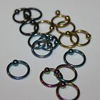 14g Titanium color CBR Captive Bead Ring Body Piercing 1/4 to 5/8 inch