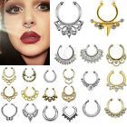 1 Set Unisex Fake Septum Clicker Nose Ring Non Piercing Hanger Clip On Jewelry
