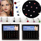 24x Charm Rhinestone Surgical Steel Fashion Nose Ring Bone Stud Body Piercing