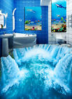 3D Blue Waterfall Floor WallPaper Murals Wall Print Decal 5D AJ WALLPAPER
