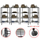 1/2/3/4 PCS 4 Tier Layer Steel Wire Metal Shelf Adjustable Shelving Rack BLACK